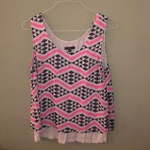 C. luse tank. Navy pink and white. Size large